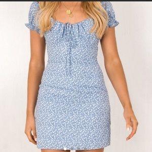 Sundae Muse blue floral mini dress